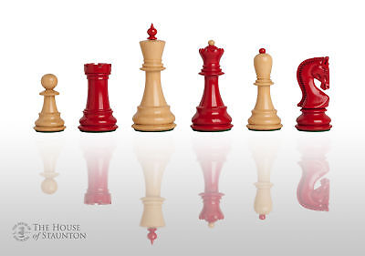 """The Zagreb '59 Chess Set - Pieces Only - 3.875"""" King - Red and Natural Lacquered"""