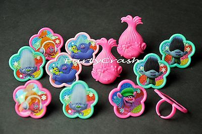12 PCS Trolls Cake Cupcake Rings Birthday Party Favors Toppers