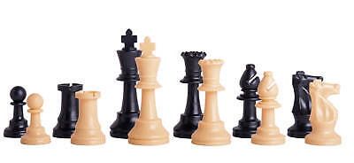 """Single Weighted Regulation Plastic Chess Set - Pieces Only - 3.75"""" King - Black"""