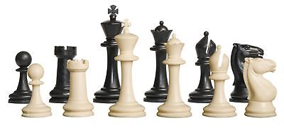"""Competition Plastic Chess Set - Pieces Only - 3.75"""" Black & Natural"""