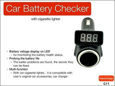 Cigarette Lighter Adapter Socket Battery Voltage Gauge Health Check