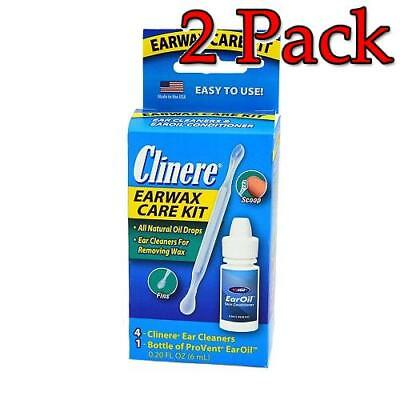 Clinere Ear Wax Care, 4 Cleaners + 1 Bottle, 1 kit, 2 Pack 846241006568S606