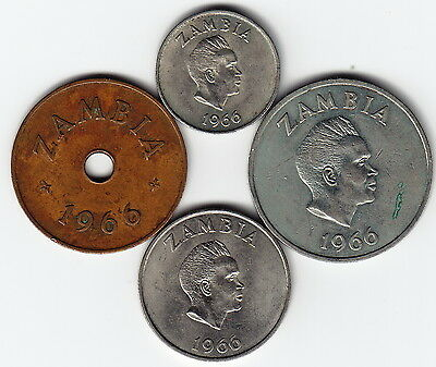 ZAMBIA 1966 Complete 4-coin Set KM5-8 All 1yr types HIGH GRADE - EXTREMELY RARE!
