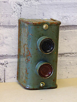 Vintage old industrial machinist start stop push buttons switch steel case