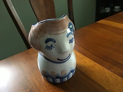 """M.A. Hadley 6.5"""" Stoneware Pottery Face Pitcher"""