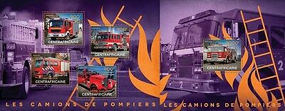 CA14515ab Central Africa 2014 Fire engines MNH SET