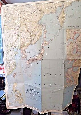 VINTAGE JAPAN AND ADJACENT REGIONS OF ASIA MAP National Geographic April 1944