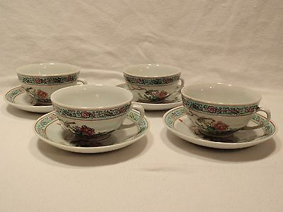 Set of 4 Vintage Chinese Tea Cups and Saucers.  Bird Design.  Stamped on Bottom