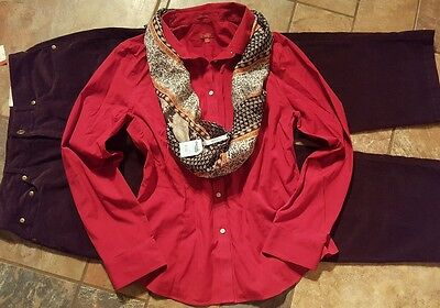 women's clothing lot outfit sz 14 NWT corduroy's, 14 Talbots blouse, NWT scarf