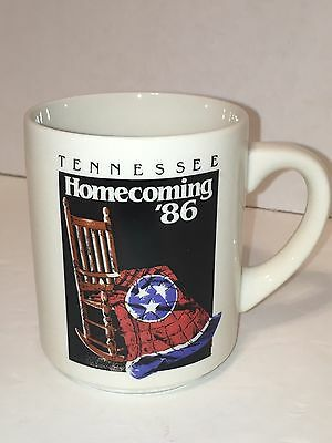 Tennessee Homecoming '86 Mug Cup Ceramic Rocker With TN Flag Vintage