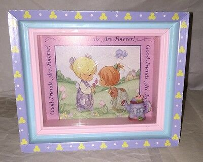 """VINTAGE Precious Moments Box Frame Art """"GOOD FRIENDS ARE FOREVER"""" 6X5"""""""