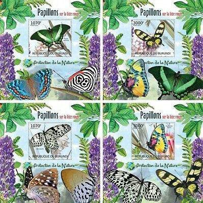 Z08 Imperforated BURdelux24 BURUNDI 2012 Butterflies 4 x s/s MNH