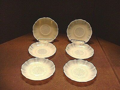 6 Vintage Depression Mac Beth Evans American Sweetheart Opalescent Saucers