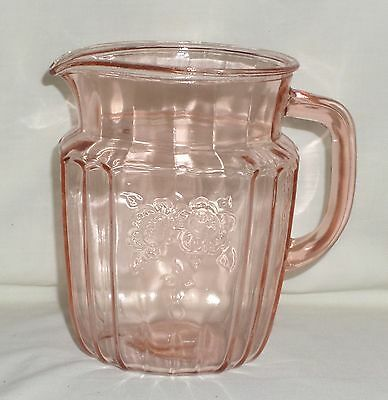 "Anchor Hocking MAYFAIR/OPEN ROSE PINK *6"" 37 oz JUICE PITCHER*"