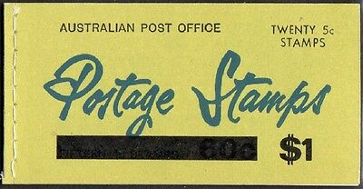 1967 AUST STAMP BOOKLET $1 QUEEN ELIZABETH ll 5c on 4c O/PRINT (9 x 4 in)