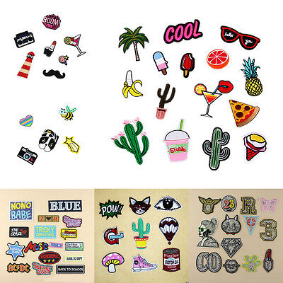 Cartoon Letter Fruit Embroidered Sew Iron On Patch Badge Cloth Applique Dress