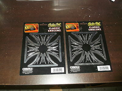 Lot Of 2 Auto Art Chrome Iron Cross Classic Emblemz Sticker Decals New