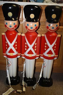 "Lot of 3 BRAND NEW 31"" Christmas Lighted Blow Mold Toy Soldier Yard Decorations"