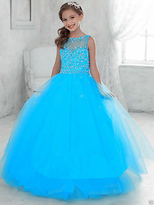 Party Prom Birthday Dress Tulle Flower Girl Kid Pageant Dance Ball Gown Princess