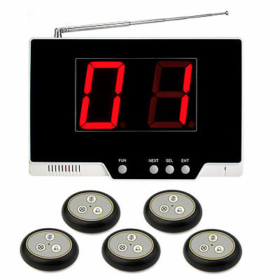 Wireless Calling Paging System for  Restaurant Host Receiver+5 Call Button Top!!
