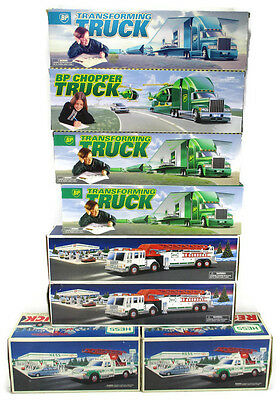 Lot of 8 Hess Fire and Rescue Truck and Bp Transforming and Chopper Truck New