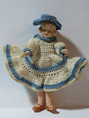 """Lovely 4"""" Antique Bisque Figurine Doll with Knit Dress & Hat Signed Germany"""