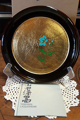 """COLLECTIBLE VINTAGE """"YAMANAKA GOLD LAQUERWARE HAND PAINTED PLATE"""" 16cm (3)"""