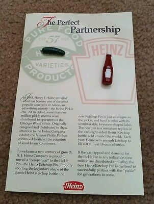 Heinz pickle and ketchup pins advertising promo