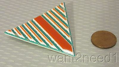 60s vtg early LEA STEIN PARIS TRIANGLE PIN laminated coral turquoise layers