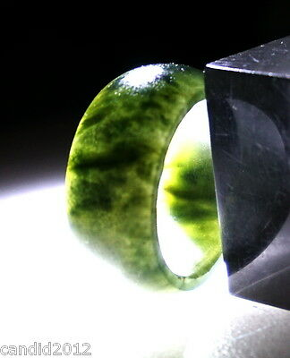 Vintage Translucent Natural Green Spinach Jadeite Jade Wide Band Ring Size 8.5