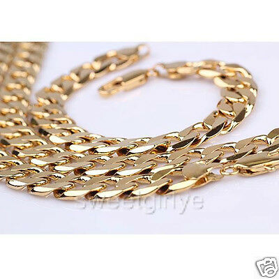 Mens 24k Yellow Gold Filled Necklace+Bracelet Set Heavy Curb Link Chain 12mm
