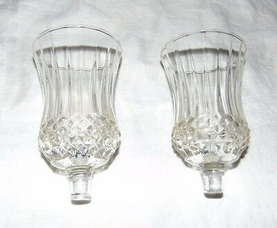 Vintage HOME INTERIOR / HOMCO Pair Clear Diamond Peg Votive Cups Candle Holders