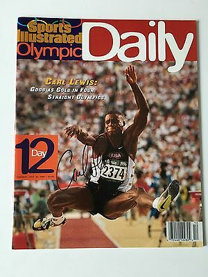 Carl Lewis autographed Sports Illustrated Olympic Daily SI, 1996, Rare, COA
