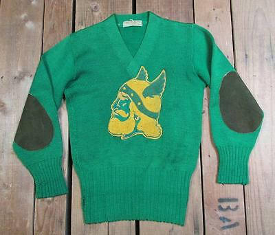 Vintage 1940s Imperial Varsity Sweater w/Large Viking Chenille Patch Letterman S