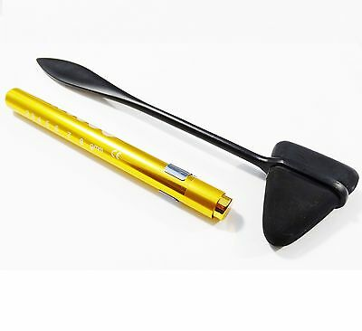 BLACK Stealth Head Taylor hammer+ Gold LED Reusable PenLight with Pupil Gauge