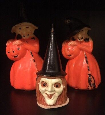 Vintage Set of 3 Gurley Wax Witch Halloween Pumpkin Candles