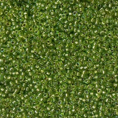 20grams Chartreuse AB Silver Lined Miyuki Size 8 Seed Beads - No 1014