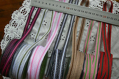 Grosgrain Striped Stitched Ribbon 7 Colours 10mmWide 3&5Mtr Lengths ChoiceALDBot