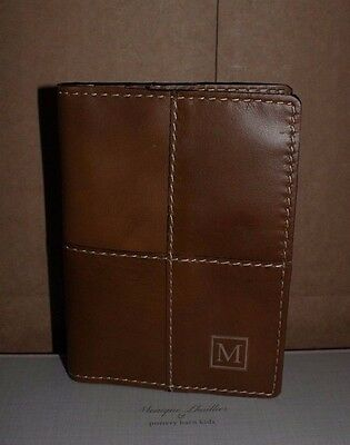 NWT Pottery Barn Beckett leather passport case holder monogrammed with M
