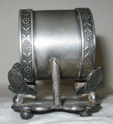 Antique Napkin Ring Holder Butterfly Moth 1800s Silver Plated