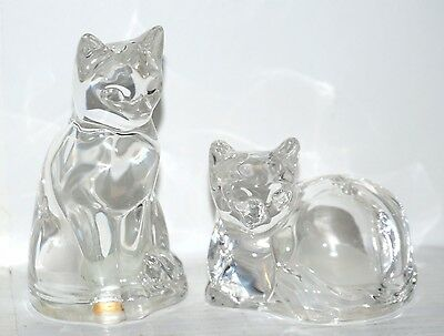 Crystal Glass Cats Salt and Pepper Shaker Set Made in Germany