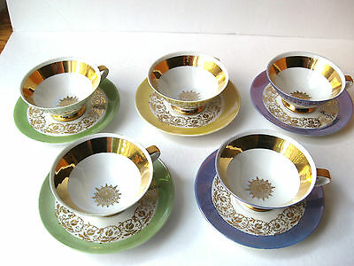 Lot of 5 Vintage Hutschenreuther Selb Demitasse Cups & Saucers Gold Scroll Stars