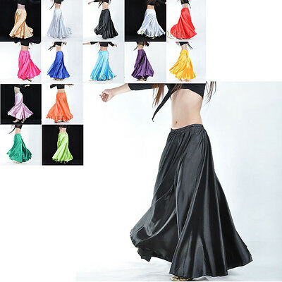 Belly Dance Satin Skirt Full Circle Long Sexy Dancing Costume New