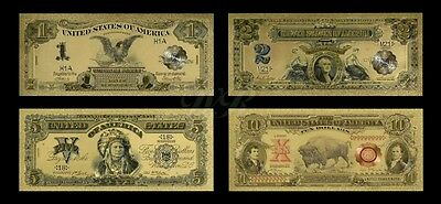 Gold Banknotes -  4 x US Dollar Gold Colourised Banknotes + FREE P&P