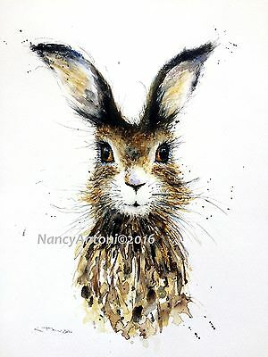 Print of my Watercolour Painting 'Cute Hare' #6 A4 A3 size Nancy Antoni Signed