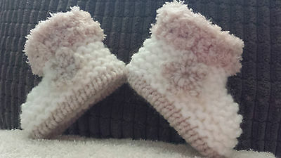 Baby Girls Cream / Beige Hand Knitted Aran Boots / Booties - Eb -12-18 Months