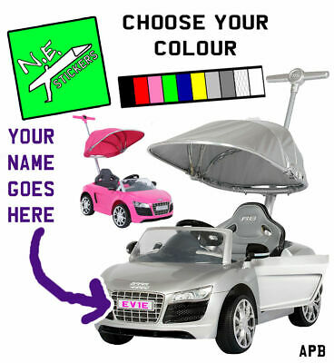 Private personalised kids number plate for Audi R8 PUSHBUGGY ride on toy car