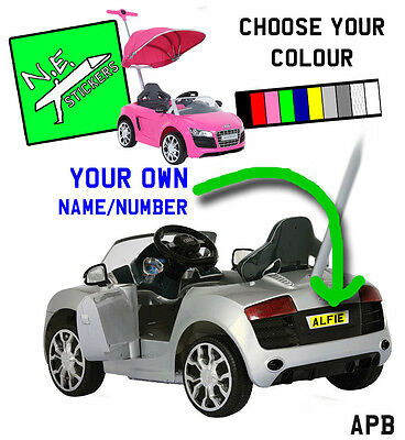 Personalised kids Number Plate License fits Audi R8 PUSHBUGGY ride-on car