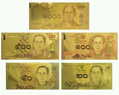 Gold Banknotes -  5 x Thailand Gold Colourised Banknotes + FREE P&P