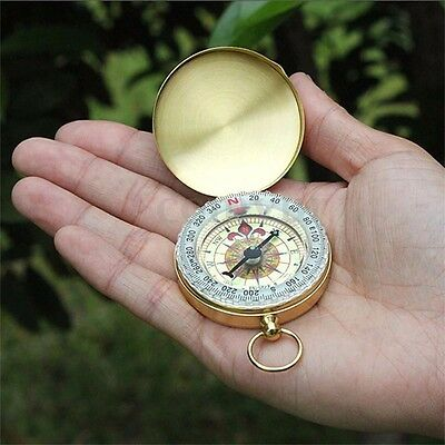 Classic Metal Brass Camping Hiking Compass Pocket Watch Style Outdoor Tool Gift